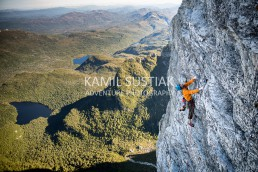 Pete Wyllie (@petewyllie) and Martin Buchauer climbing the Lorax route at Frenchmans Cap