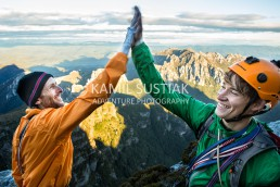 Pete Wyllie (@petewyllie) and Martin Buchauer after climbing the Lorax route at Frenchmans Cap