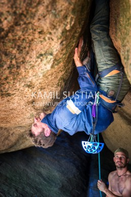 Doug McConell (@dugmcc) climbing a roof crack at Tarana