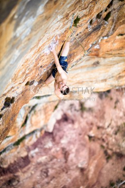 Tom O'Halloran during the first ascent of  Milkbar Pitch 2 at Elphinstone